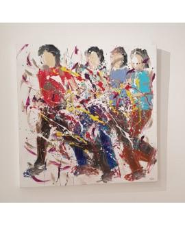 Tableau moderne, peinture contemporaine figurative, acrylique sur toile 100x100cm représentant des HQM rouge vert et bleu