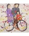 Peinture contemporaine, tableau moderne figuratif, acrylique sur toile 100x100cm représentant une famille sur un vélo