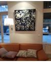 Peinture contemporaine, tableau moderne figuratif, acrylique sur toile 100x100cm intitulé: vélos bleus