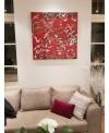 Peinture contemporaine, tableau moderne figuratif, acrylique sur toile 100x100cm intitulée: vélos rouges