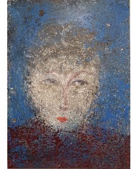 Peinture contemporaine acrylique sur toile 100x73cm représentant une tête au pull bordeaux