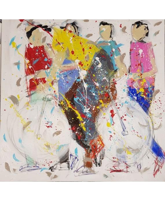 Tableau moderne, peinture contemporaine figurative, acrylique sur toile 100x100cm représentant le maillot jaune