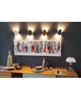 Peinture moderne, tableau contemporain figuratif,acrylique sur toile 150x50cm représentant des hommes qui marchent en couleur