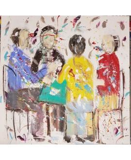 Tableau moderne, peinture contemporaine figurative, acrylique sur toile 100x100cm intitulée: la partie de cartes.