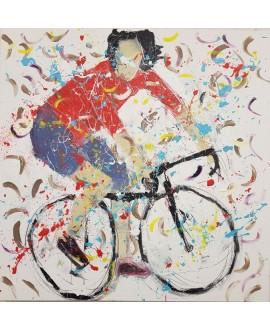 Peinture contemporaine, tableau moderne figuratif, acrylique sur toile 100x100cm intitulée: cycliste en danseuse rouge.