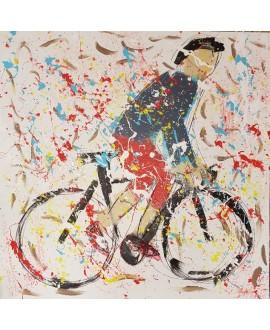 Peinture moderne, tableau contemporain figuratif, acrylique sur toile 100x100cm intitulée: cycliste en danseuse bleu.