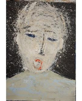 Peinture contemporaine, portrait, tableau moderne figuratif, acrylique sur toile 100x73cm intitulée: enfant qui crie