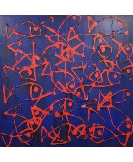 Peinture moderne, tableau contemporain figuratif, acrylique sur toile 100x100cm intitulée: poissons rouges