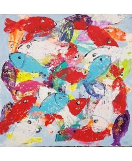 Peinture contemporaine, tableau moderne figuratif, acrylique sur toile 100x100cm intitulée: poissons de corail