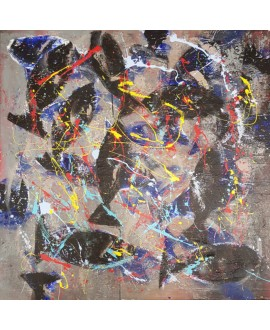 Peinture contemporaine, tableau moderne figuratif, acrylique sur toile 100x100cm intitulée: poissons noirs.