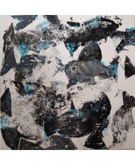 Peinture moderne, tableau contemporain figuratif, acrylique sur toile 100x100cm intitulée: poissons noirs et bleus.