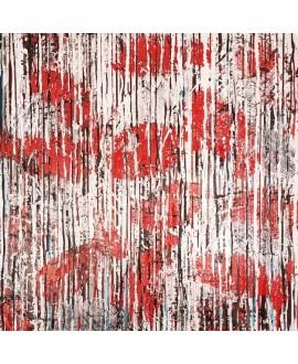Peinture contemporaine, tableau moderne figuratif, acrylique sur toile 100x100cm intitulée: poissons tigres rouges.