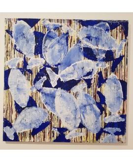 Peinture moderne, tableau contemporain figuratif, acrylique sur toile 100x100cm intitulée: poissons tigres blancs et bleus.