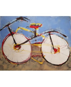 Peinture moderne, tableau contemporain figuratif, acrylique sur toile 116X89cm intitulée: vélo à la selle rouge.