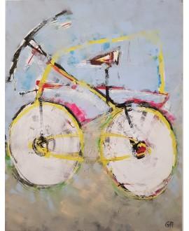Peinture contemporaine, tableau moderne figuratif, acrylique sur toile 116X89cm intitulée: vélo rose.