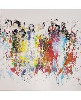 Peinture moderne, tableau contemporain figuratif,acrylique sur toile 80x80cm intitulée: foule en couleur.