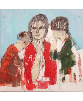 Peinture contemporaine acrylique sur toile 100x100cm intitulée: femme aux enfants.