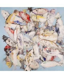 Tableau moderne, peinture contemporaine figurative, acrylique sur toile 100x100cm intitulée: poissons clairs.