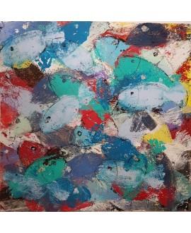 Peinture contemporaine, tableau moderne figuratif, acrylique sur toile 100x100cm intitulée: poissons verts et bleus.