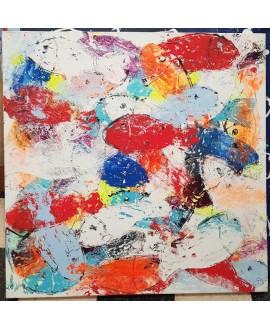 Peinture contemporaine, tableau moderne figuratif, acrylique sur toile 100x100cm intitulée: poissons rouges et oranges.