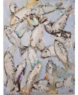 Peinture contemporaine, tableau moderne figuratif, acrylique sur toile 60x80cm intitulée: poissons gris et blancs.