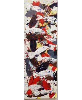 Peinture contemporaine, tableau moderne figuratif, acrylique sur toile 40x120cm intitulée: poissons blancs rouges et noirs.