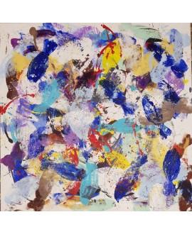 Peinture contemporaine acrylique sur toile 100x100cm intitulée: poissons bleus et jaunes.
