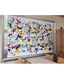 Peinture contemporaine acrylique sur toile 160x250cm intitulée: poissons bleus.