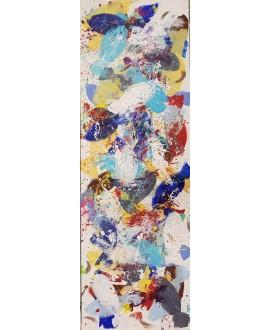 Peinture moderne, tableau contemporain figuratif, acrylique sur toile 150x50cm représentant des poissons bleus et blancs.