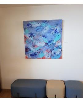 Peinture contemporaine, tableau moderne figuratif, acrylique sur toile 100x100cm intitulée: poissons bleus.