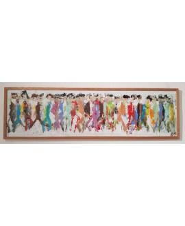 Peinture contemporaine, tableau moderne figuratif, acrylique sur papier cartonné 110x32cm intitulée: HQM 6.