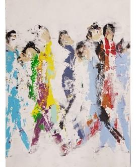 Peinture contemporaine, tableau moderne figuratif, acrylique sur toile 60x80cm intitulée: Hommes QM1