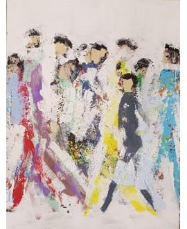 Peinture contemporaine, tableau moderne figuratif, acrylique sur toile 60x80cm intitulée: HQM2
