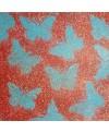 Peinture contemporaine, tableau moderne figuratif, acrylique sur toile 100x100cm intitulée: papillons bleus sur fond rouge