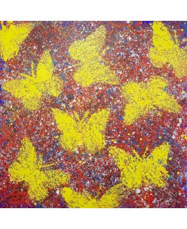 Peinture moderne, tableau contemporain figuratif, acrylique sur toile 100x100cm intitulée: papillons jaunes sur fond rouge.