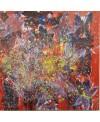 Peinture contemporaine, tableau moderne figuratif, acrylique sur toile 100x100cm intitulée: papillons au soleil.