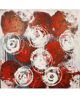 Tableau contemporain, peinture moderne figurative, acrylique sur toile 100x100cm intitulée: fleurs rouges et blanches.