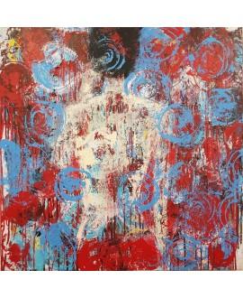 Peinture contemporaine, tableau moderne figuratif de nu , acrylique sur toile 100x100cm intitulée: femme fleur.