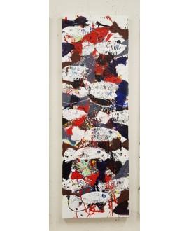 Peinture contemporaine, tableau moderne figuratif, acrylique sur toile 40x120cm intitulée: poissons blancs rouges et noirs 2.