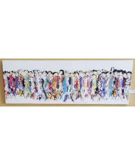 Peinture contemporaine acrylique sur toile 150x50cm représentant des HQM en couleur 2.