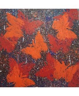 Peinture contemporaine, tableau moderne figuratif, acrylique sur toile 80x80cm intitulée: papillons orange et rouge.
