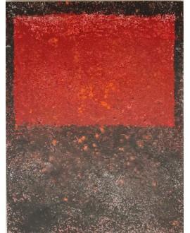Peinture contemporaine, tableau moderne abstrait, acrylique sur toile 116x89cm intitulée fenêtre rouge.