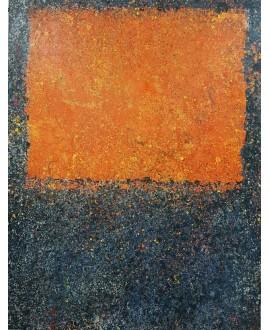 Peinture contemporaine, tableau moderne abstrait, acrylique sur toile 116x89cm intitulée fenêtre bleue.