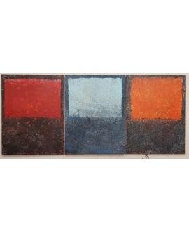 Peinture contemporaine, tableau moderne abstrait, acrylique sur toile triptyque: 3 fois 116x89cm, intitulée fenêtres de couleur.