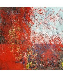 Tableau moderne, peinture contemporaine abstraite, acrylique sur toile 100x100cm intitulée fenêtre bleue et rouge.