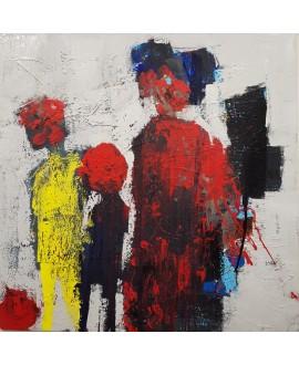 Tableau moderne, peinture contemporaine abstraite, acrylique sur toile 100x100cm intitulée mère aux enfants 2.