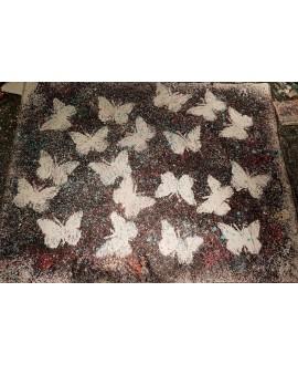Peinture contemporaine, tableau moderne figuratif, acrylique sur toile 212x164cm intitulée: papillons blancs 2.