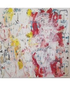 Tableau contemporain, peinture moderne figurative, acrylique sur toile 100x100cm intitulée: multitetes blanches.