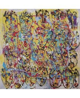 Peinture moderne, tableau contemporain figuratif, acrylique sur toile 100x100cm intitulée: multitetes jaunes.