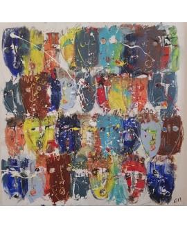 Peinture contemporaine, tableau moderne figuratif, acrylique sur toile 100x100cm intitulée: multitetes colorées 1.